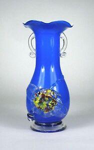 Vase Hand Blown 2 Applied Handles Blue White Pontil Ruffle Edge H 9 1/4 Cobalt