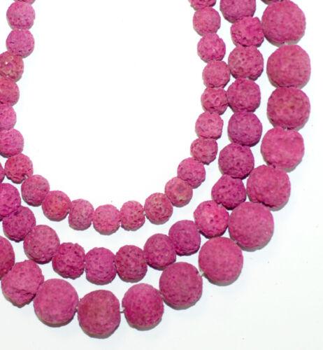 Lava perlas fucsia balas 6-10 mm redondo 1 Strang bacatus piedras preciosas #4025