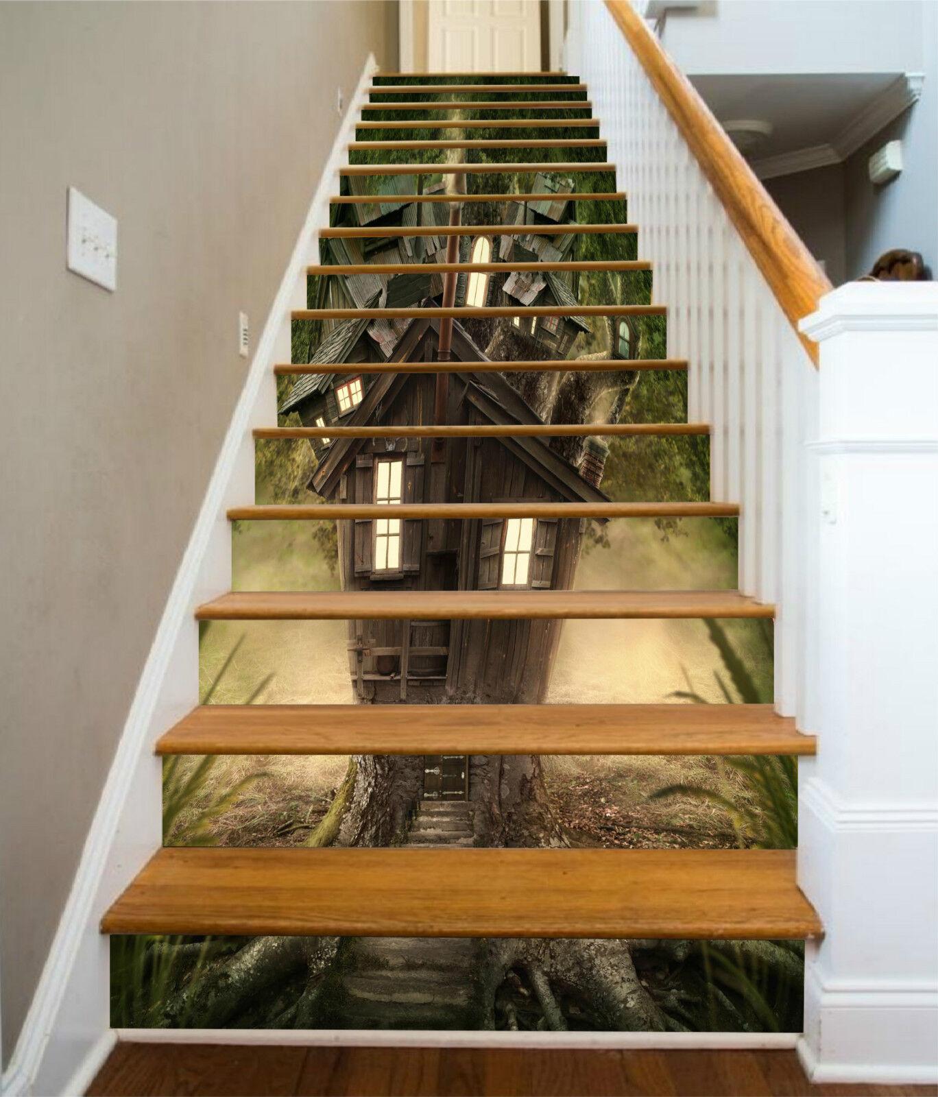 3D Baumhaus 0026 Stair Risers Dekoration Fototapete Vinyl Aufkleber Tapete DE