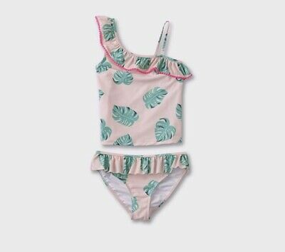 NWT JUSTICE GIRL SWIMSUIT 2 PC TANKINI PEACHY PINK BLACK PALM TREE SIZE 8 1//2 8H