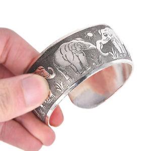 Geschnitzter-Elefant-Tibetan-Tibet-Silber-Totem-Armreif-Manschette-Armband-GeXUI