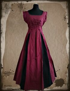 Mittelalter Kleid Gewand Langarm Kurzarm Leinen Baumwolle Bordeaux