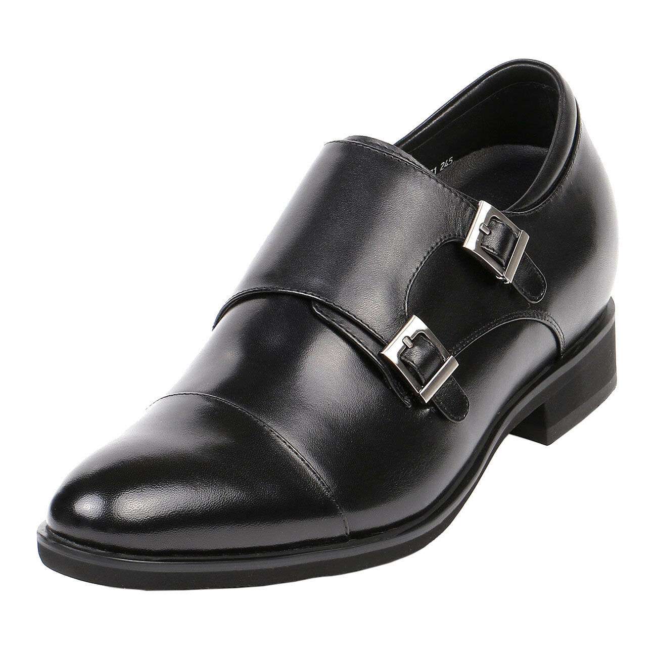 il più alla moda Monk Strap nero Leather Dress Dress Dress scarpe Cap Toe 3  Taller Short Uomo Height, GKD71  acquisto limitato