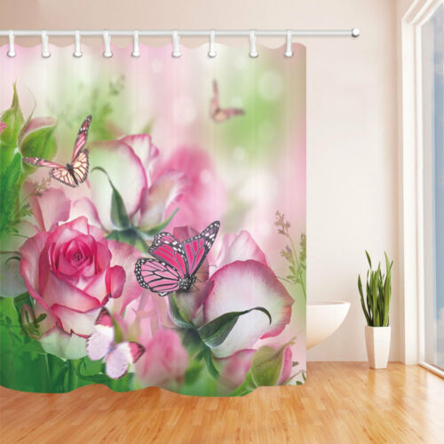 Butterfly On Pink Rose Flowers Bathroom Fabric Shower Curtain Waterproof 71 Inch