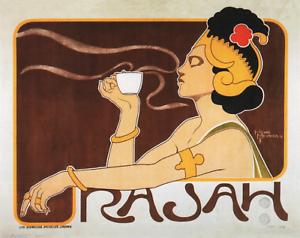 "20/""x26/""  on Canvas Henri Meunier Rajah Coffee ad 1897"