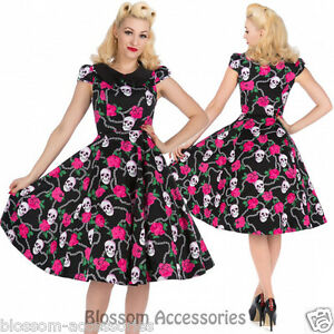 RKH85-Hearts-and-Roses-H-amp-R-Skully-Pin-Up-Rockabilly-Evening-Dress-50s-Retro-Plus