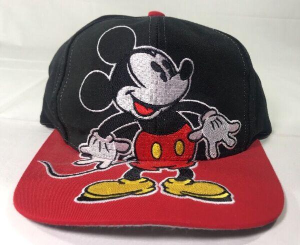 06433cf12 VTG Mickey Mouse Hat Snapback Baseball Cap 90's Disney Big Logo Hip-Hop