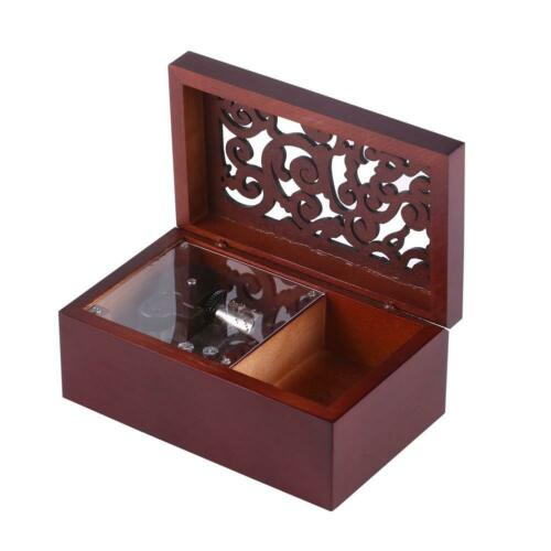Wood Miniature 18 Note Wind Up Music Box Jewelry Case Movement//Edelweiss GO