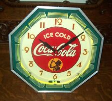 COCA COLA NEON CLOCK    PROFESSIONALLY RESTORED! VINTAGE SIGN