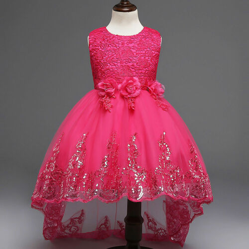 Kids Flower Girl Bow Princess Dress for Girls Party Wedding Bridesmaid Gown O89