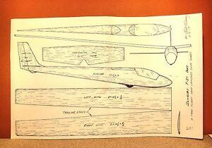 slingsby t 51 dart glider flying model airplane plan 27 ebay