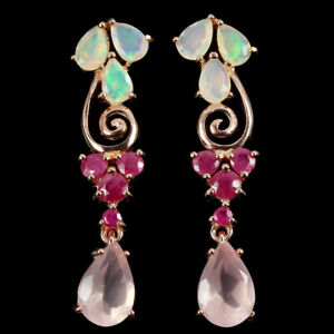 GENUINE-11X7-MM-AAA-ROSE-QUARTZ-OPAL-amp-RED-RUBY-STERLING-925-SILVER-EARRING
