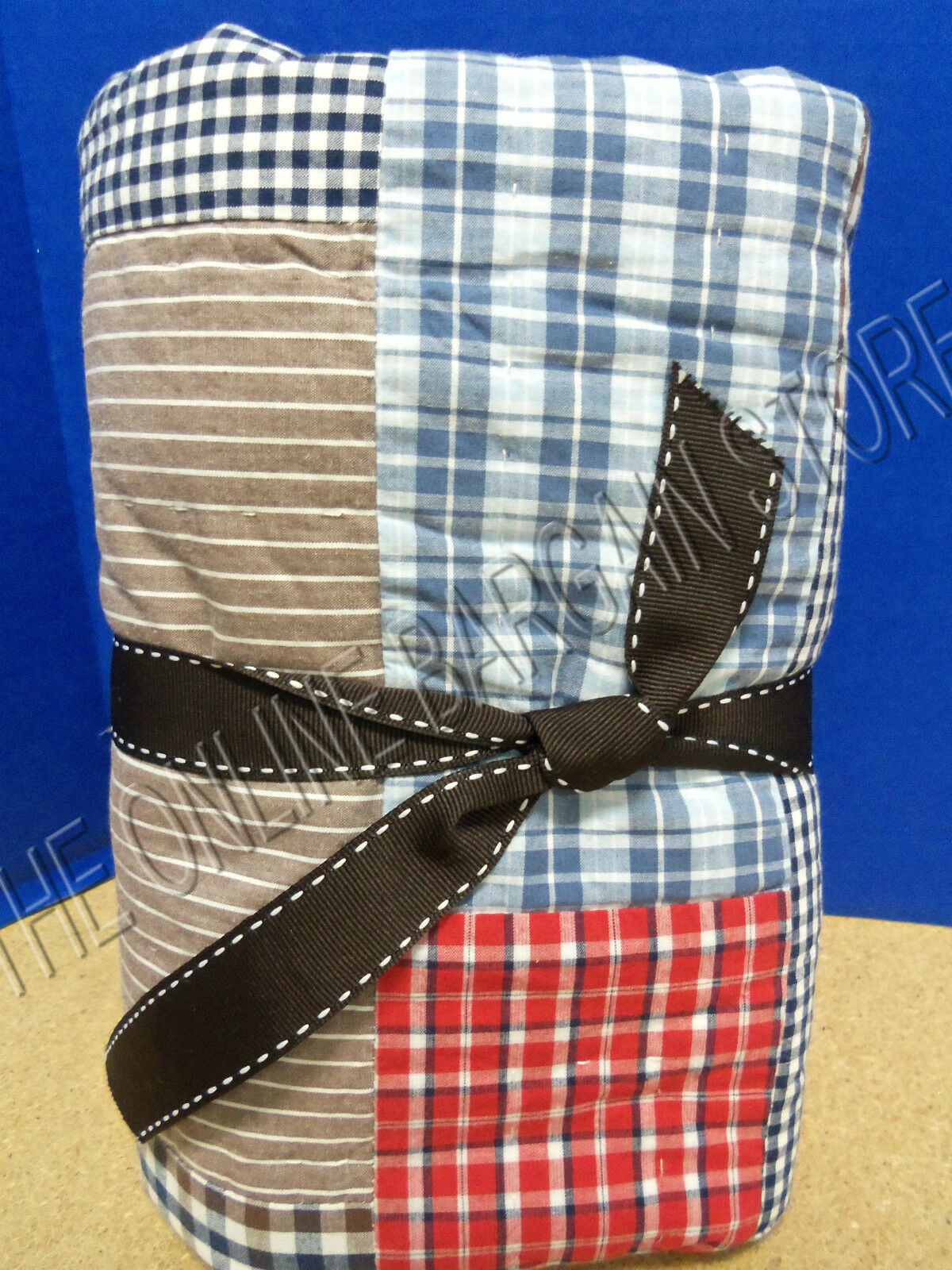 Pottery Barn Kids Dustin Patchwork Hand Quilted Bed Pillow Sham Euro Square