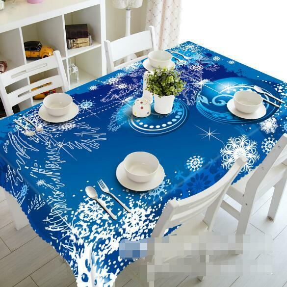 3D bleu Snow 4 Tablecloth Table Cover Cloth Birthday Party Event AJ WALLPAPER AU