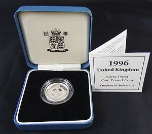 Royal-Mint-1996-United-Kingdom-Silver-Proof-1-Coin-Case-COA