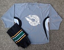 Quad City Mallards Gray Tron Practice Hockey Jersey & Black Game Socks ECHL Wild