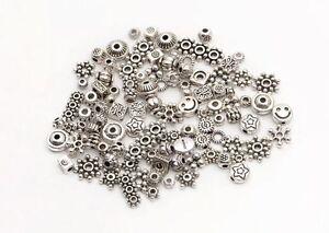 Lots-Mixed-100pcs-Tibetan-Silver-Star-Flower-Daisy-Spacer-Beads-Jewelry-DIY-HN
