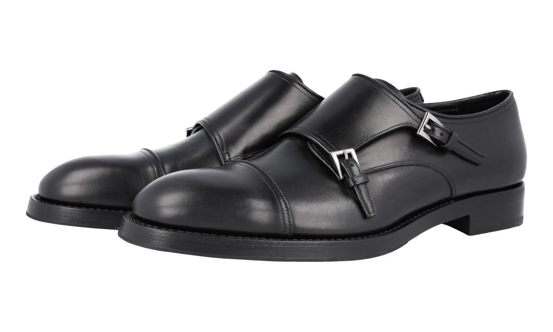 AUTH LUXURY PRADA DOUBLE MONK CAP TOE scarpe 2OA017 nero US 10 EU 43 43,5