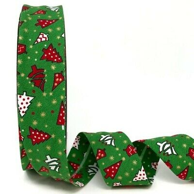 30mm X 2m Red Christmas Theme Print Bias Binding.