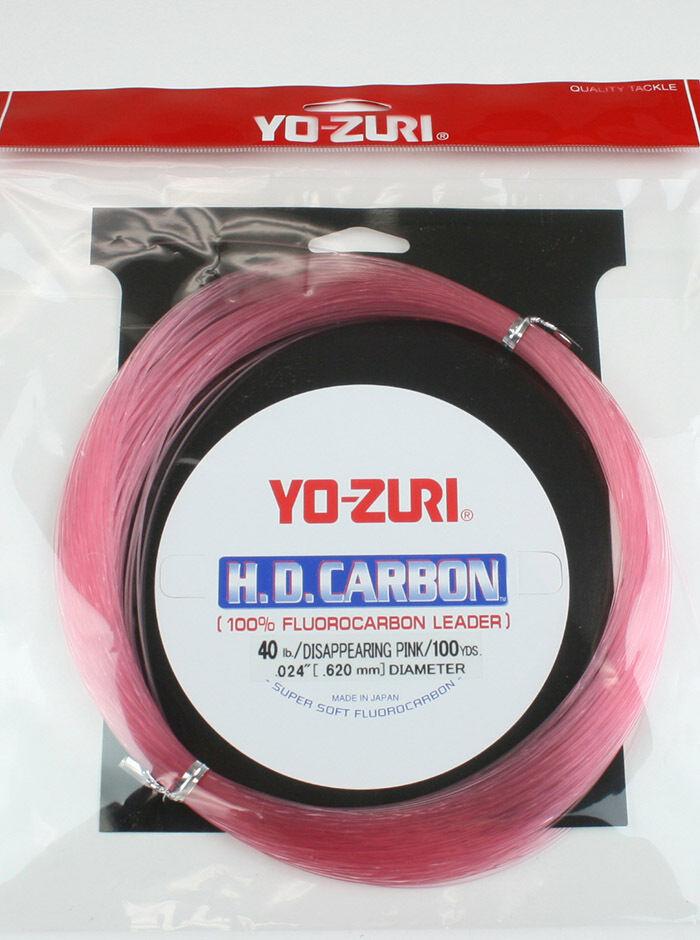 Yo-Zuri H.D. Carbon Flugoldcarbon Pink Leader 100yard 30, 40, 50, 60, 80, 100 LB