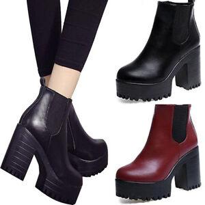 Donna-Chelsea-Plateau-Medio-Alto-chunky-tacco-spesso-stivaletti-scarpe-taglia