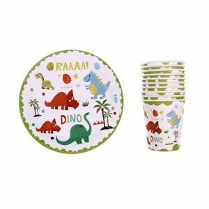 10pcs-Dinosaur-theme-paper-plates-disposable-paper-cups-birthday-party-decor-od