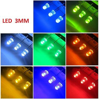 3mm Ultra Bright LED White//Yellow//Blue//White//Red//Blue