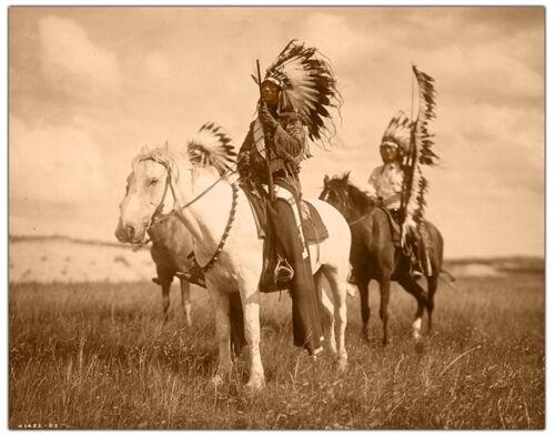 Curtis 1905 8x10 Restoration Photoprint RP SIOUX CHIEFS ON HORSEBACK Edward S