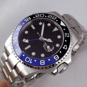 43mm-PARNIS-Schwarz-dial-Date-Saphirglas-GMT-Automatisch-Movement-Uhr-mens-Watch