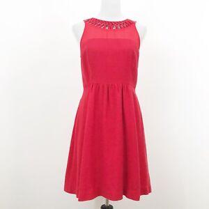 Anthropologie-Maeve-Red-Lattice-Neck-Dress-Size-6-Sheer-Mesh-Fit-Flare
