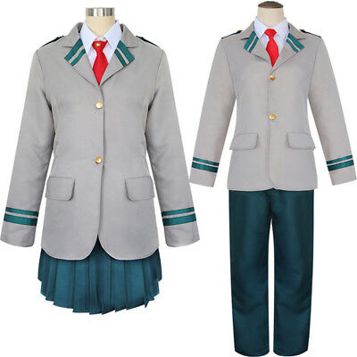 Unisex My Boku no Hero Uniforms Cosplay Academia OCHACO Coat Dress Costume Set