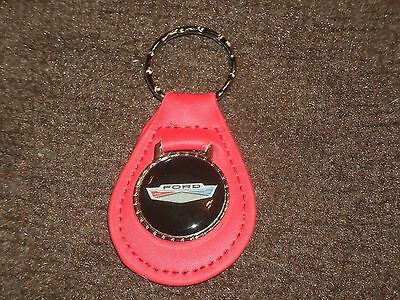 1960/'s FORD GALAXIE FAIRLANE FALCON FORD CREST LOGO LEATHER KEYCHAIN NEW RED