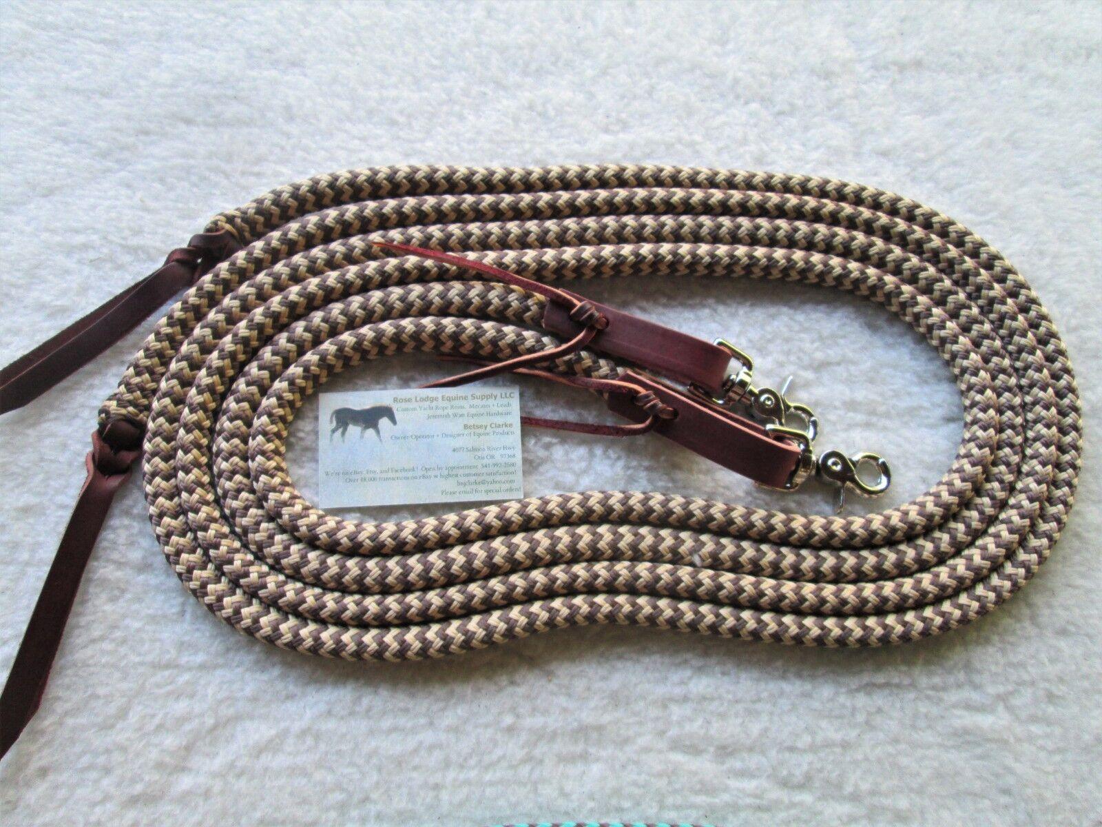 Tan   Brown Yacht Rope SPLIT Reins w Leathers, Snaps 7' x 1 2 Snakeskin Pattern