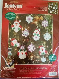 Janlynn-SANTA-039-S-SNOWFLAKE-COLLECTION-Felt-Christmas-Ornament-Kit-of-20-Sealed
