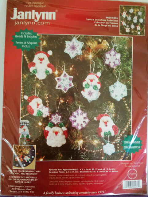 Janlynn SANTA'S SNOWFLAKE COLLECTION Felt Christmas Ornament Kit of 20 Sealed