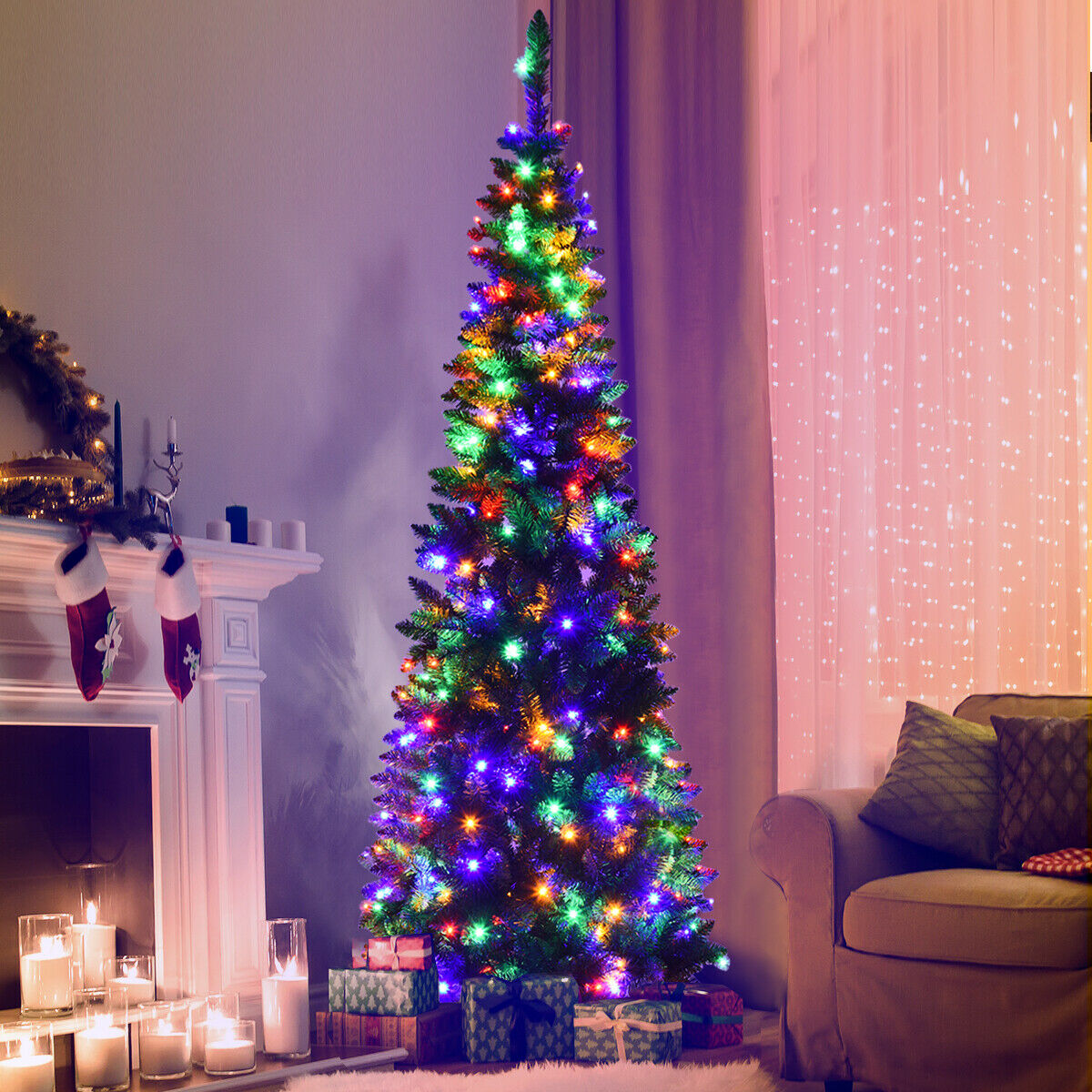 6 5ft Pre Lit Hinged Artificial Pencil Christmas Tree with 250 Multicolor