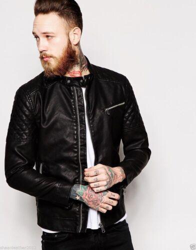 Men/'s Genuine Lambskin Leather Motorcycle Slim fit Biker Jacket S M L XL XXL