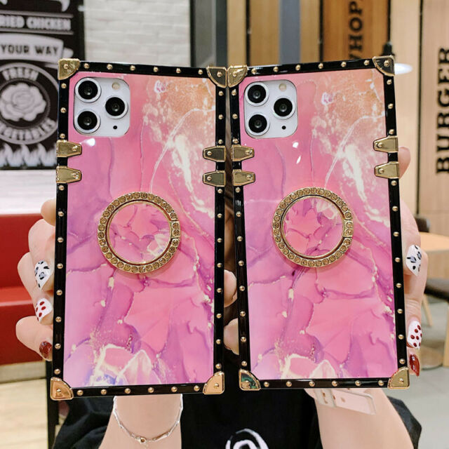 Pink Marble Square Holder Metal Phone Case Cover For ...