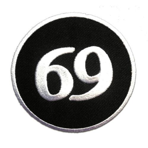 69 Nummer 69 schwarz//weiß No Aufnäher // Bügelbild Ø7 -Applikationen Patch