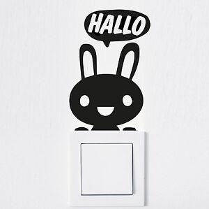 Aufkleber Lichtschalter Hallo Hase Sticker Wandtattoo Steckdose Fun