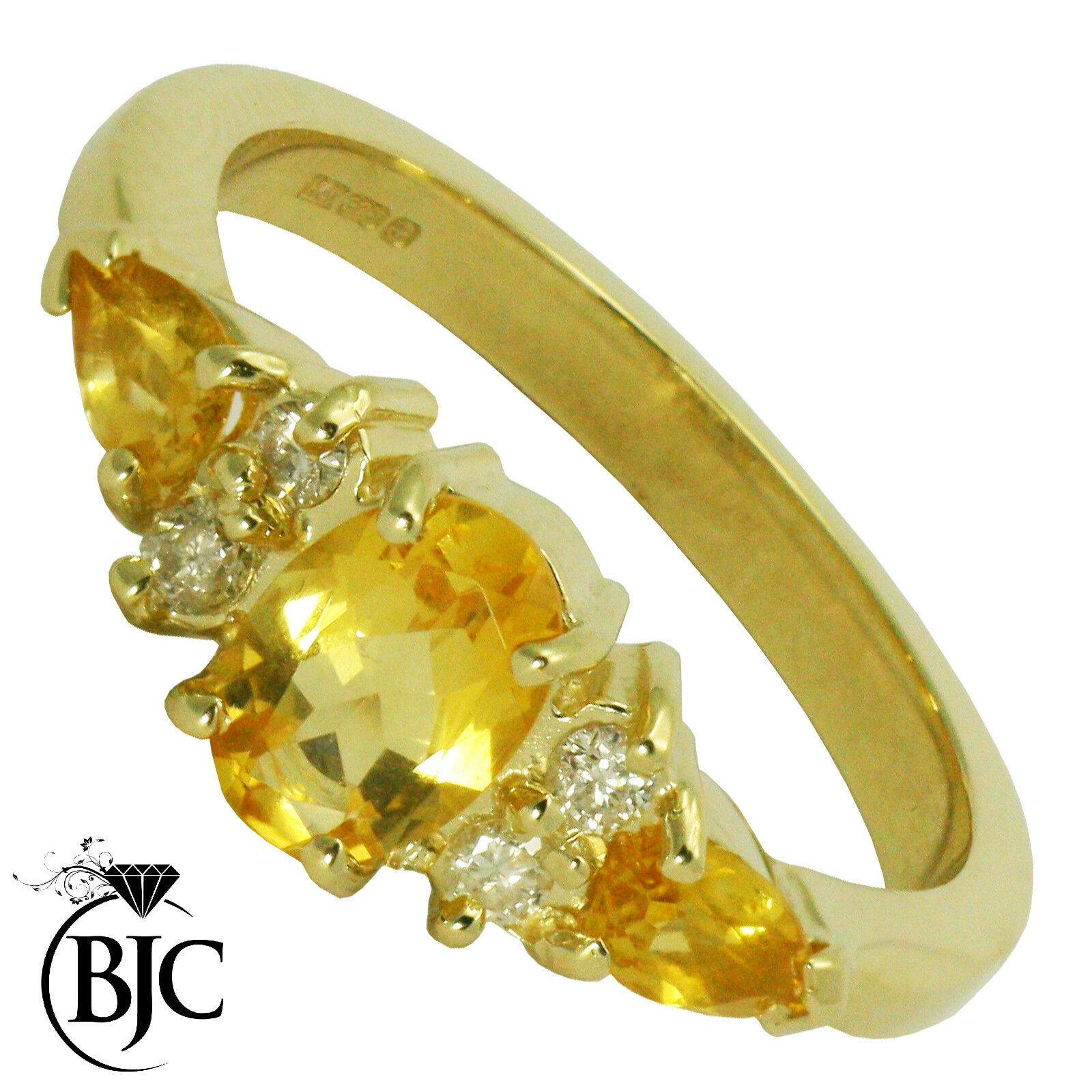 BJC 9 Ct Or yellow Citrine & DIAMANT size O fiançailles Robe Bague R178