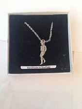 """Girl Line Dancer PP-W02  Emblem on Silver Platinum Plated Necklace 18"""""""
