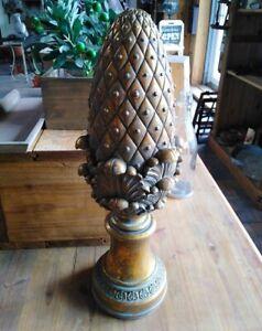 Pommes-de-Pin-Statue-Or-Decoration-Interieure-Vintage-Style-Antique-Ciment-Neuf