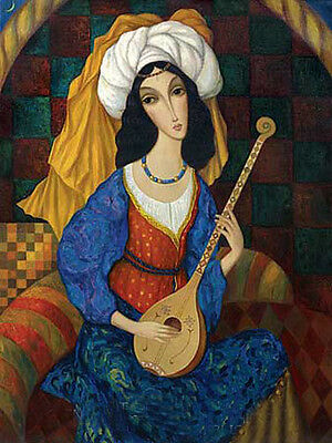 Oil painting nice young Arab girl playing music with white scarf no framed