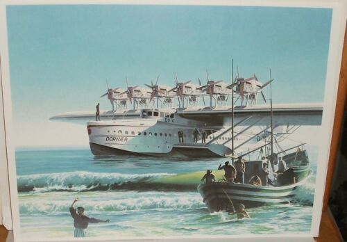 KOIKE SHIGEO DORNIER DO X FLYIN BOAT GERMANY LITHOGRAPH