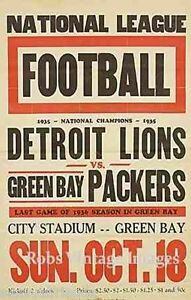 Detroit Lions Vs Green Bay Packers Football Poster 1936 NFL Vintage ... f4f814b63