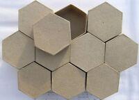 HEXAGONAL Paper Mache Boxes (Qty-10) 7.5x4cm Brown Papier Mache