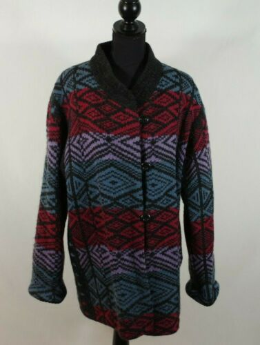Vintage Hilda Iceland Wool Sweater Coat Button Fro