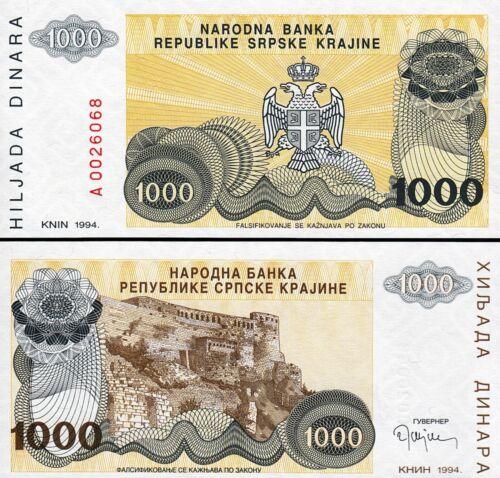 P-R30 UNC Croatia 1000 Dinara 1994 Prefix A 00*****