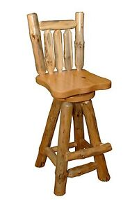 Rustic Pine Log Swivel Pub Chairs Stool W Back 24 Counter Height